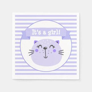 It's a girl | Cute Purple Cat | Baby Shower Paper Napkin