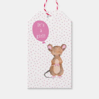 It's a girl! Cute Wood Mouse Baby Shower Gift Tags