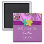 It's A Girl Draped Balloons Due Date Refrigerator Magnet