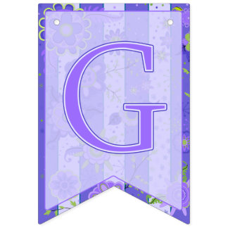 It's A Girl! Elephant Flowers Purple Swallowtail Bunting Flags