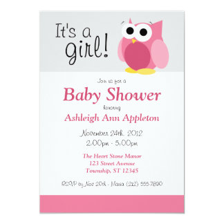 """It's a girl! Funny Pink Owl Baby Shower Invitation 5"""" X 7"""" Invitation Card"""