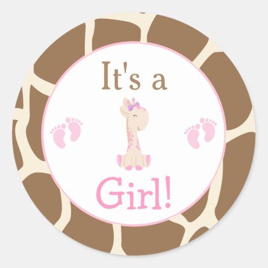 It's a Girl Giraffe Baby Shower Classic Round Sticker