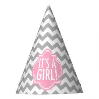 It's a Girl Gray Chevron and Pink Party Hat