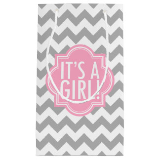 It's a Girl Gray Chevron and Pink Small Gift Bag
