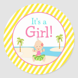 'It's a Girl' Hula Tropical Baby Shower Classic Round Sticker