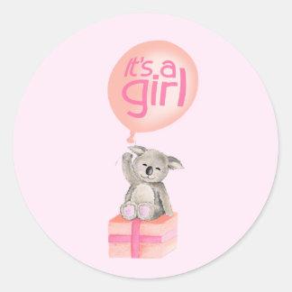 It's a girl koala bear balloon sticker