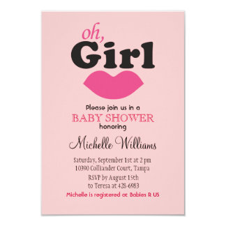"""It's A Girl Lips Baby Shower 3.5"""" X 5"""" Invitation Card"""