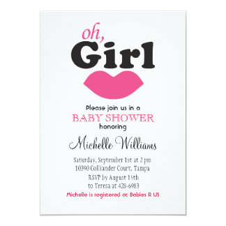 """It's A Girl Lips Baby Shower 5"""" X 7"""" Invitation Card"""