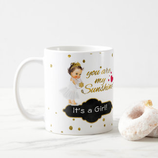 It's a Girl My Sunshine   Princess Baby Glitter Coffee Mug