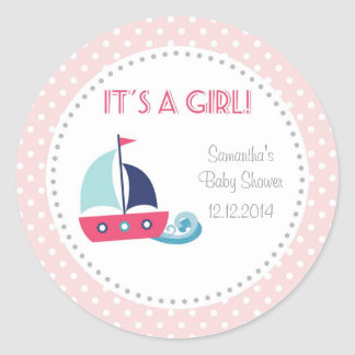 It's A Girl Nautical Sailboat Baby Shower Stickers
