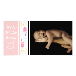 It's A Girl... Our Precious Little Pearl Customized Photo Card