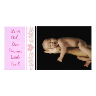 It's A Girl... Our Precious Little Pearl Personalized Photo Card
