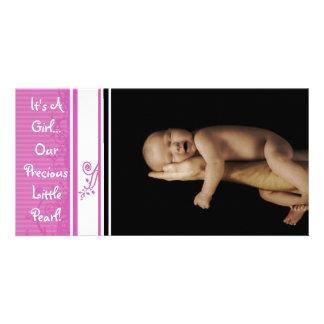 It's A Girl... Our Precious Little Pearl Custom Photo Card