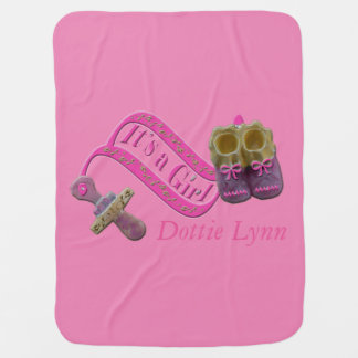 It's a Girl Pacifier Shoes Receiving Blanket