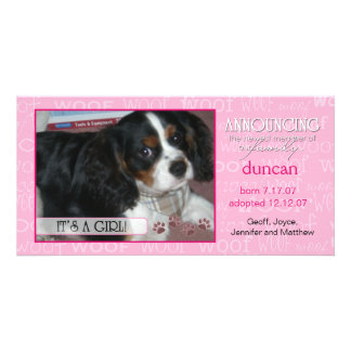 It's a Girl - Pet Photo Card
