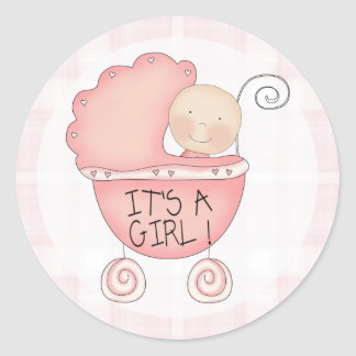 It's a Girl! Pink Baby Buggy Announcement Classic Round Sticker