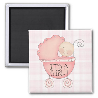 It's a Girl! Pink Baby Buggy Square Magnet