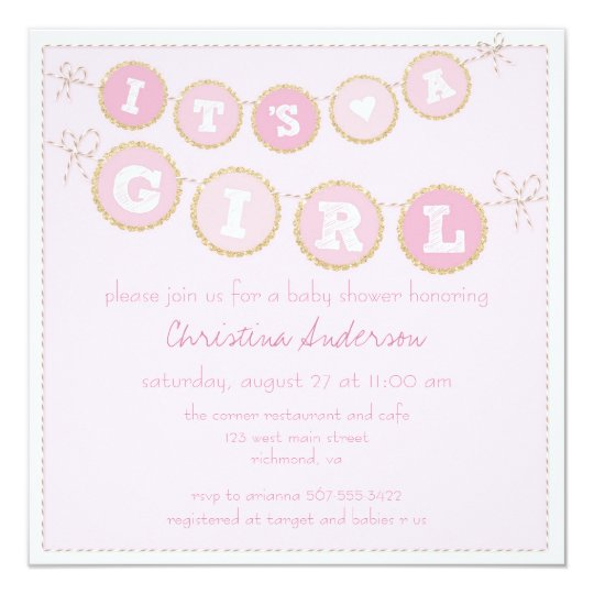 It's A Girl Pink Gold Glitter Baby Shower Invite
