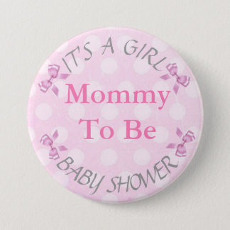 It's a Girl Pink Mom To Be Bow Baby Shower Button