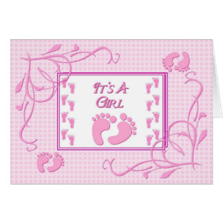 It's A Girl-Pink Note Card
