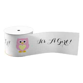 It's A Girl! Pink Owl New Baby Ribbon Grosgrain Ribbon