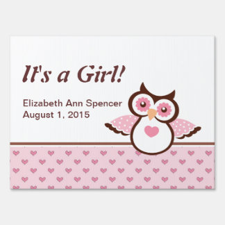 It's a Girl Pink Owl Yard Sign