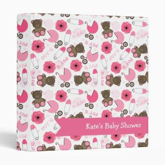 It's A Girl Pink Pattern Baby Shower Binder