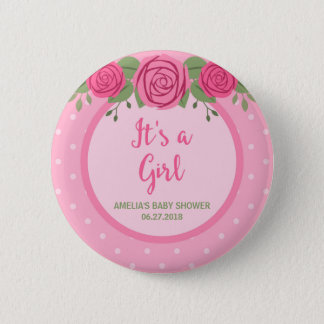 It's a Girl Pink Polka Dot and Floral Baby Shower 2 Inch Round Button