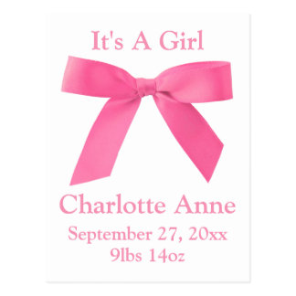 It's A Girl Pink Ribbon Bow Birth Announcemant Postcard