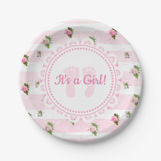 It's a Girl Pink & White Lacey Baby Shower Plates