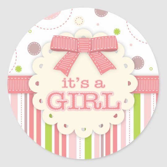 It's a Girl Pinks & Green Stitches Baby Shower Classic Round Sticker