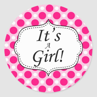 Its A Girl Polka Dot Milestone Round Sticker