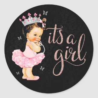 It's a Girl Princess Girl Baby Shower Classic Round Sticker