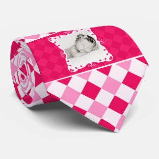 It's a Girl Proud New Daddy Pink Checkered Photo Tie