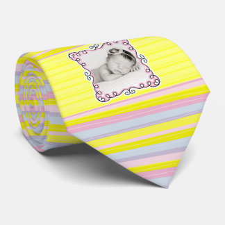 It's a Girl Proud New Daddy Yellow Striped Photo Tie