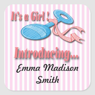 Its a Girl Rattle Birth Announcement envelope seal