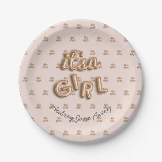 ITS a girl! Rose gold paper plate