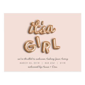 ITS a girl! Rose gold/PINK postcard. Postcard