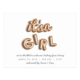 ITS a girl! Rose gold postcard. Postcard