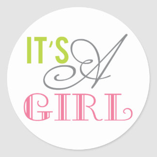 It's a Girl round baby shower favor stickers
