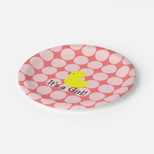 It's a Girl. Rubber Ducky and Polka Dots 7 Inch Paper Plate
