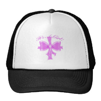 It's a Girl! Satin ribbon and bow Trucker Hat