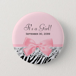 Its a Girl Shower Pink Ribbon and Lace Zebra Print 2 Inch Round Button