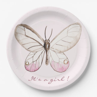 It's a girl! Sweet Blush Butterfly | Babyshower Paper Plate