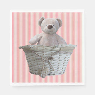 It's A Girl Teddy Bear Pink Stripes Baby Shower Paper Napkins
