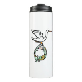 It's a Girl the Stork is Bringing on a pink licens Thermal Tumbler