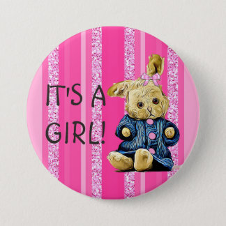 It's a Girl Vintage Bunny Baby Button