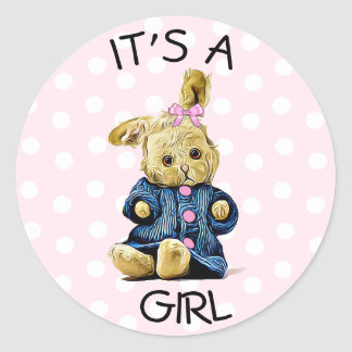 """It's a Girl"" Vintage Bunny Rabbit Pink Stickers"