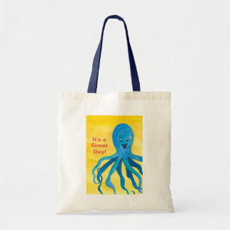 It's A Great Day Blue Octopus Tote Bag