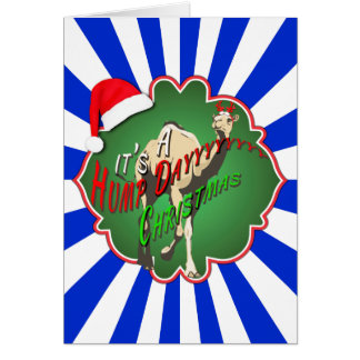 It's A Hump Day Christmas Camel Blue Starburst Greeting Card